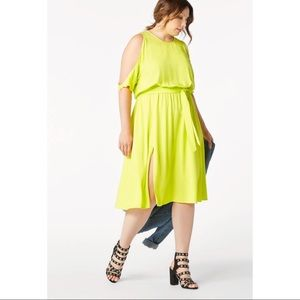 Limeade Cold Shoulder Dress w/ Elastic Waist & Tie